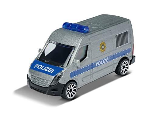 Majorette Renault Master Polizei, Polizeibus, Polizeiauto, Einsatzfahrzeug, Spielzeugauto mit Freilauf, zu öffnende Teile, Auto aus Metall, 7,5 cm, silber/blau, für Kinder ab 3 Jahren