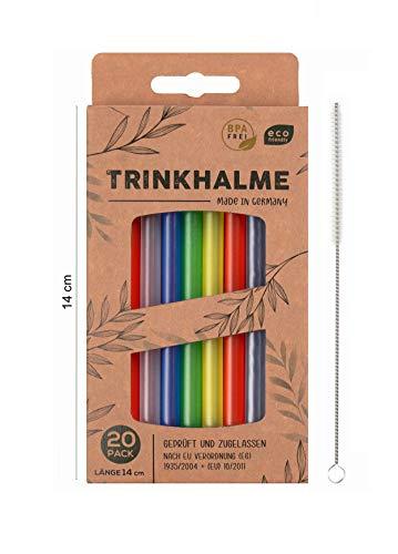 Cannucce di alta qualità, 20 pezzi, 14 cm, made in Germany, riutilizzabili e lavabili in lavastoviglie con spazzola per la pulizia (multicolore, 14)