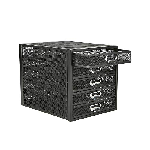 Mind Reader 5CABMESH-BLK Cabinet, Metal, File, Office Storage, Heavy Duty Multi-Purpose, Black 5 Drawer