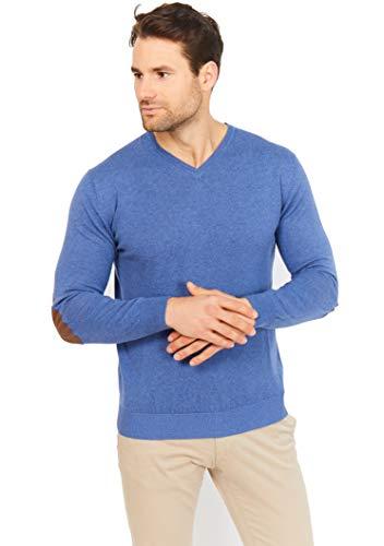 Jack Stuart - Jersey Cuello en Pico de Vestir, 95% algodón 5% Cachemira, Coderas Estilo Casual Elegante para Hombre