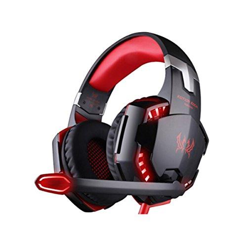 CIC Gamer Fone de Ouvido Kotion Each G2000 Headset LED Microfone PS4 Xbox Notebook PC MAC, Preto e vermelho