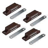 LouMaxx Magnetschnäpper sehr stark - Haltekraft 8kg - 4er Set in braun – Türmagnet - Magnetverschluss - Tür Magnet - Magnetverschluss Schrank - Magnet Türschließer - Magnet Schranktür