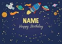 新しい7x5ftスペースロケットパーティー背景カスタム名と年齢エイリアンパーティー宇宙飛行士誕生日写真背景子供子供男の子誕生日パーティー写真ビニール装飾