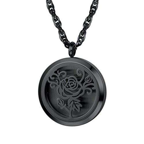 PROSTEEL Diffuser Aromatherapy Necklace,Perfume Locket Pendant Charm,Delicate Rose Flower Hot Women Jewelry,Black Stainless Steel,Valentine