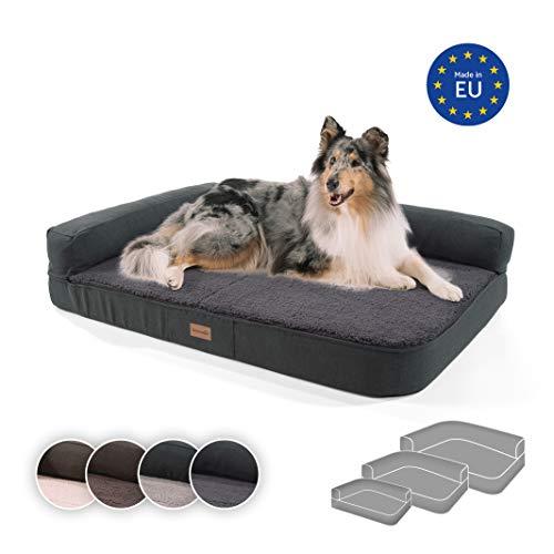 brunolie Odin großes Hundesofa in Dunkelgrau, waschbar, orthopädisch und rutschfest, Hundekissen mit Abnehmbarer Lehne, Größe L (120 x 80 x 12 cm)