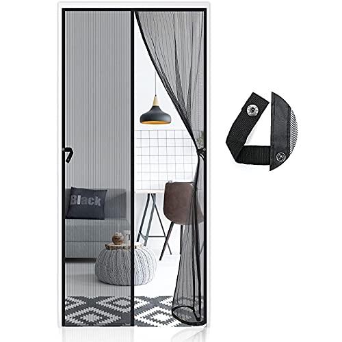 AUGOLA Cortina Mosquitera Magnética para Puerta con Alzapaños 90 x 210 cm, Mosquitera Para Puertas Cortina de Sala de Estar, Cortinas Antimoscas Exterior,Negro