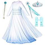 Includes white dress,cape,tiara,wand,wig,gloves. Rich accessories, your little princess will love it This dress is made of elastic material, which makes it soft and comfortable for little girls. Made from non-itchy and comfortable fabric,a layer of 1...