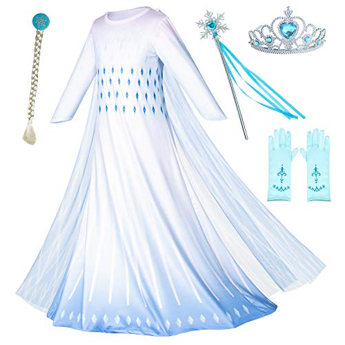 Princess Snow Queen Act 2 Costumes Birthday Party Dress Up for Little Girls with Wig,Crown,Mace,Gloves Accessories 7-8Y