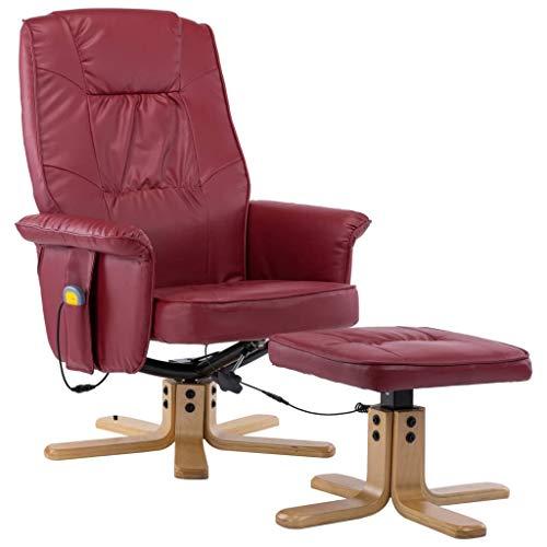 vidaXL Massagesessel mit Fußhocker Hocker Wärmefunktion Massage Relaxsessel Fernsehsessel TV Sessel Polstersessel Ruhesessel Weinrot Kunstleder