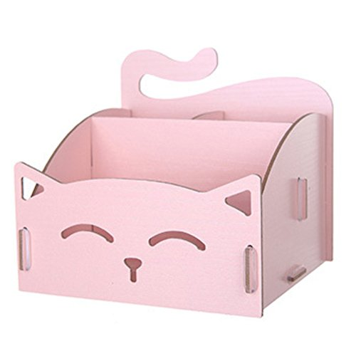 Caja de almacenamiento – Sukisuki Lindo gato forma hueca de madera DIY Organizador de escritorio para oficina bolígrafo joyería cosméticos, rosa, talla única
