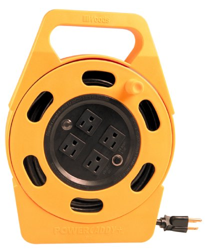 Woods 2801 Extension Reel With Four 3-Prong Power Outlets, Heavy Duty Retractable Cord, User Friendly, Made of Flame Resistant Materials, 10 AMP Circuit Breaker, 25 Foot, Yellow, Orange
