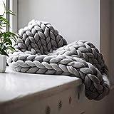 Handgefertigtes Chunky Gestrickte Wolldecke, Überwurf Mode Sofa Decken Yoga Matte Teppich Große Weiche Super Große Klobige Stricken Decke Haustier Bett Stuhl Sofa,Grau,200 * 200cm