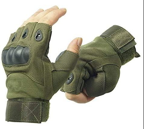GOCART WITH G LOGO Half Finger Hard Knuckle Tactical Gloves(Green)