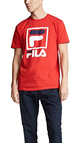 Fila Men's Stacked T-Shirt, Chinese Red, Medium