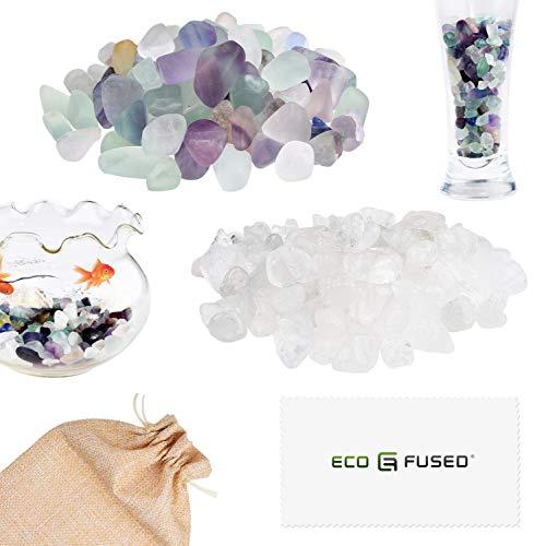 Eco-Fused Piedras de Cristal Pulidas Fluorita y Cuarzo – Piedras Naturales con Formas Irregulares para Arte, Manualidades, Joyería, Decoración y Más – Decoración para Acuarios, Plantas y Velas
