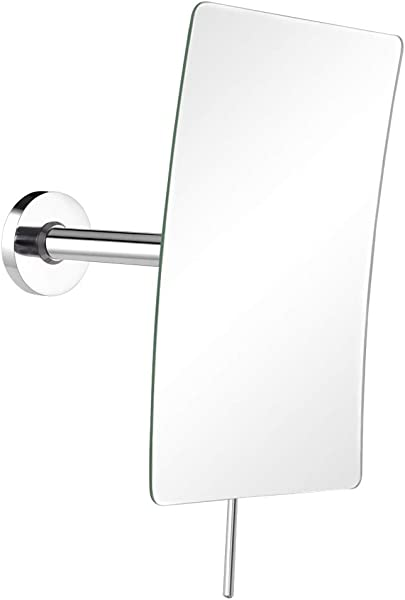 DOWRY Rectangular Vanity Mirror With 3X Magnification Made Of 304 Stainless Steel Polished Chrome 2234 3x Magnification Wall Mounted