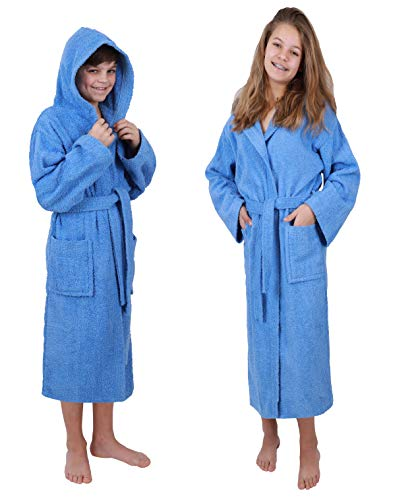 Betz Kinderbademantel mit Kapuze DUBLIN 100% Baumwolle Kinder Bademantel uni Größe 140-176 Größe 164-hellblau