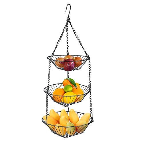 GeeToo 3-Tier Hanging Basket, Fruit Basket Bowl Holder Bread Vegetable Storage Organizer, Sorting & Organization for Kitchen Bathroom and Storing room (Black)
