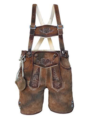 Kinder Trachten Lederhose, kurz mit Träger, Dino, Echtes Leder, Weiches Veloursleder, Braun, Gr 86 bis 164 (Gr.104)