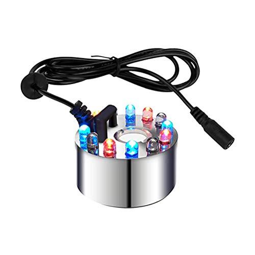 Calayu Nebelmacher mit Farbwechsel 12 LED, Teichbrunnen Nebel Wassernebelnebel für Brunnen, Teich, Steingarten, Fischtank DC 24V