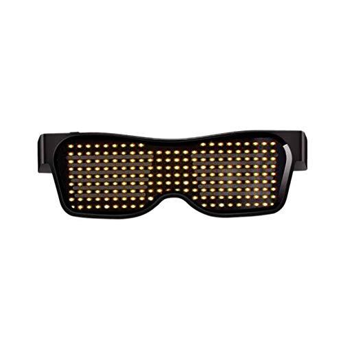 LED-Lichtgläser Bluetooth, Für Männer Frauen Flashing Sonnenbrille Handy Steuerung Bearbeitung Animation APP Individuelle Bar Zauberbrille,D