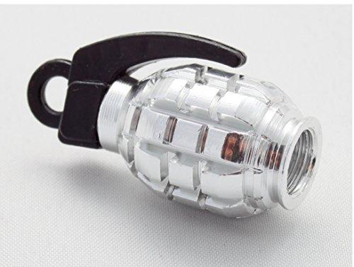 4X Ventilkappen Handgranate Granate Farbe: Silber Chrom Silver Ventilkappe VHS