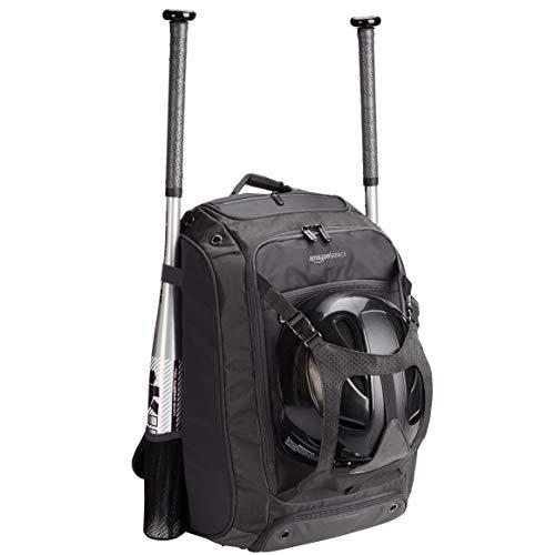 Amazon Basics Adult Baseball Softball Equipment Backpack - 13.5 x 9.5 x 20 Inches, Black