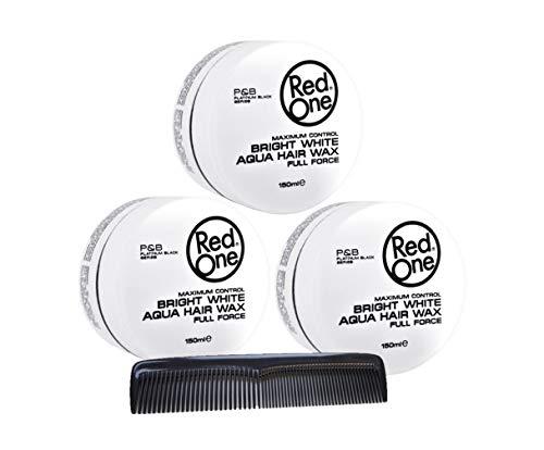 RedOne Bright White Aqua - Cera de peinado, 150 ml, 3 unidades + peine de bolsillo para peinado con gomina