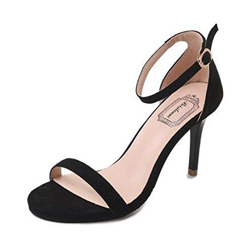 Sandalias de Verano, Dragon868 Moda Mujeres Sandalias Tobillo Tacones Altos Bloque Abierto Toe Zapatos de Verano (38, Negro)