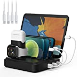 Charging Station for Multiple Devices, 5-Port Charger Organizer Dock with 4 Mixed Cables, USB Charging Station Compatible with iWatch, AirPods, Smart Phone(No Watch Charger)