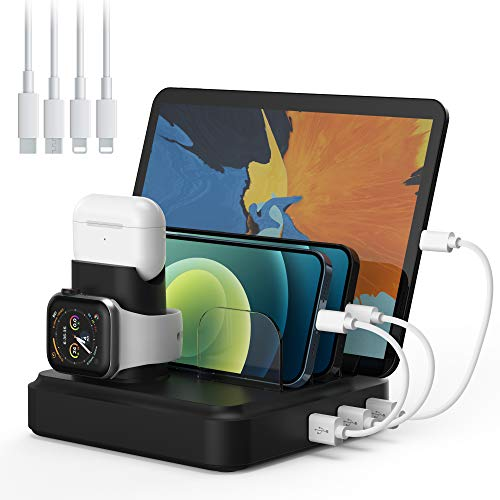 Charging Station for Multiple Devices, 5-Port Charger Organizer Dock with 4 Mixed Cables, USB...