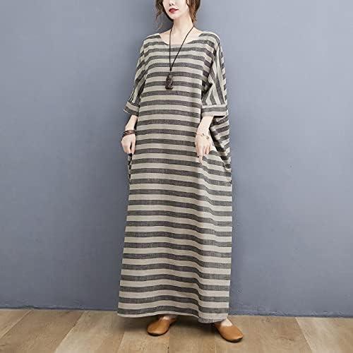 n\a Ladies Casual Retro Round Dress Portland Mall Stripes San Francisco Mall Robe Long Neck