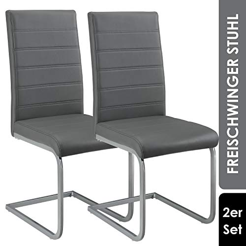 ArtLife Freischwinger Stuhl Vegas 2er Set | Kunstleder Bezug + Metall Gestell | 120 kg belastbar | grau | Esszimmerstühle Schwingstühle