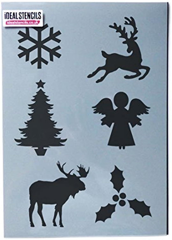 Weihnachten Motive Schablone Bogen Dekorieren & malerei-kunst-handwerk Schablone - Wiederverwendbar - semi-transparent Schablone, Xlarge - See Images B077G36FD1     | New Products