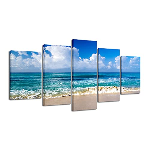 Pyradecor Seaside Extra Large Canvas Prints Wall Art Ocean Sea Beach Landscape Pictures Paintings for Bathroom Home Decorations 5 Piece Modern Stretched Seascape Artwork XL