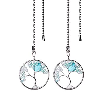 LONGSHENG Blue Glass Beads Tree of Life Fan Pull Chain Fan Light Replacement Extender Pull Chain Pack of 2