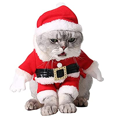 Cat Christmas Outfit ,Legendog Christmas Pet Clothes Cute Santa Claus Dog Cat Christmas Costumes Cat Dress up Christmas with Santa Hat