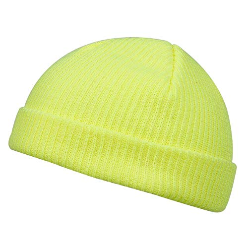 Fashion hip hop color hat autumn and winter men and women knitted hat warm hat outdoor all match casual hat all match beanie hat-Gold yellow