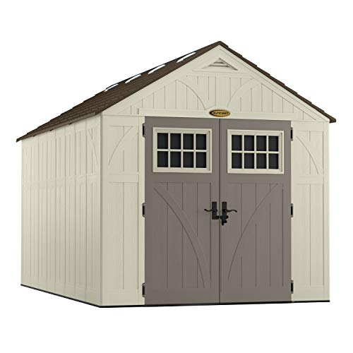 Suncast 13' x 8' Tremont Storage Shed - Natural Wood-Like Outdoor Storage for Power Equipment and Yard Tools - All-Weather Resin Material, Skylights and Shingle Style Roof