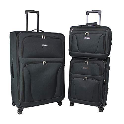 World Traveler Embarque Lightweight 3-Piece Spinner Luggage Set-Black
