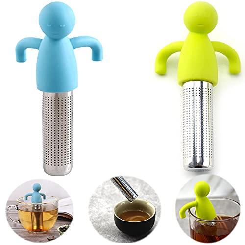 2 pcs Infusore da filtro colino e tisane Filtro per tè a Fogli Mobili 304 Inox Filtro per Colino per filtrare o inzuppare il tè,maggior parte delle tazze e delle ciotole,tè sfuso e spezie da macinare