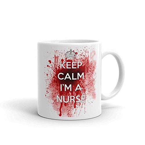 Keep Calm I 'm a Nurse Blut Tasse aus Keramik, weiß, 11Oz