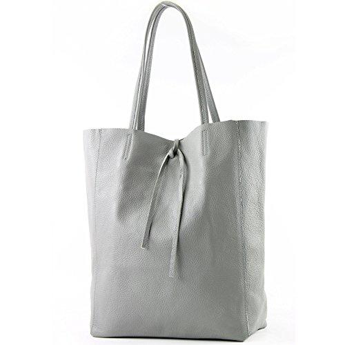 modamoda de - T163 - Ital. Shopper mit Innentasche aus Leder, Farbe:Grau