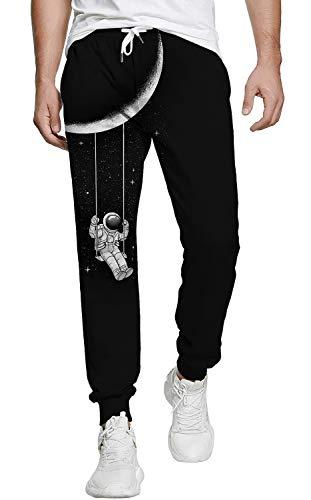 Belovecol Jogginghose Herren Trainingshose Sweathose 3D Jogger Hose Streetwear Coole Sporthose Schwarz M
