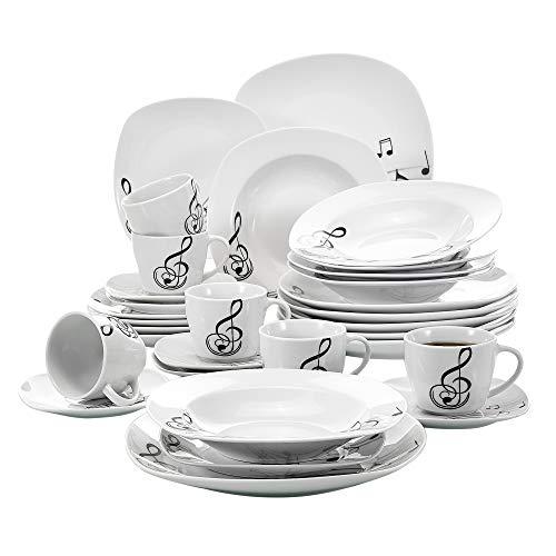 VEWEET Melody 30 Piezas Vajillas de Porcelana Juegos con 6 Taza 175 ml, 6 Platillo, 6 Platos, 6 Platos de Postre y 6 Platos Hondos para 6 Personas