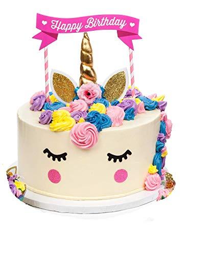 KITCHEN-PRO Gold Unicorn Birthday party Cake Toppers set Unicorn Horn Ears flowers Set Unicorn Party Decoration for baby shower wedding & birthday party
