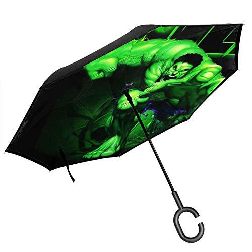 Paraguas plegable de doble capa invertida para coche, con protección UV, resistente al viento, para lluvia al aire libre, con mango en forma de C