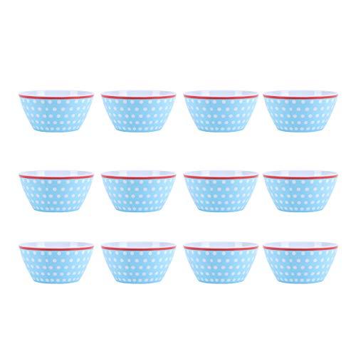 Uxsiya Salatschüssel 14,6 x 7 cm Mikrowellen-Keramikschalen Melamin für Nudeln für Salat(Light Blue dots)