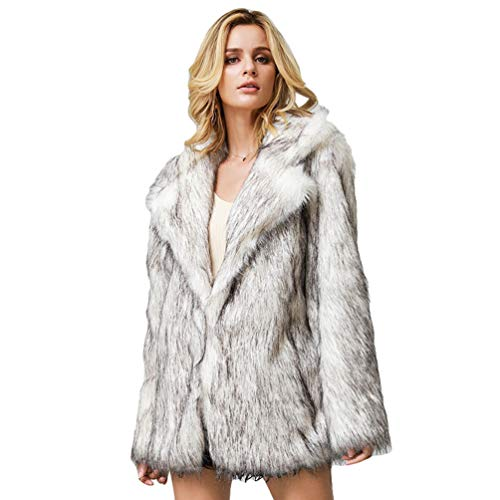 Runyue Abrigo de pelo sintético para mujer, elegante, cálido, de pelo sintético, manga larga, monocromático, chaqueta de invierno blanco y negro XXL