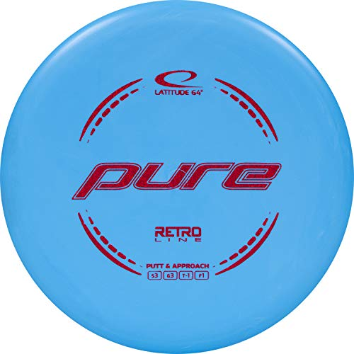 Latitude 64 Retro Pure Disc Golf Putter   Frisbee Golf Putt and Approach Disc   170g Plus   Stamp Color Will Vary   Great Throwing Disc Golf Putter for Beginners (Blue)